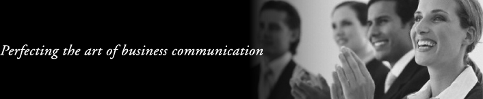 Tagline reads: Perfecting the art of business communications